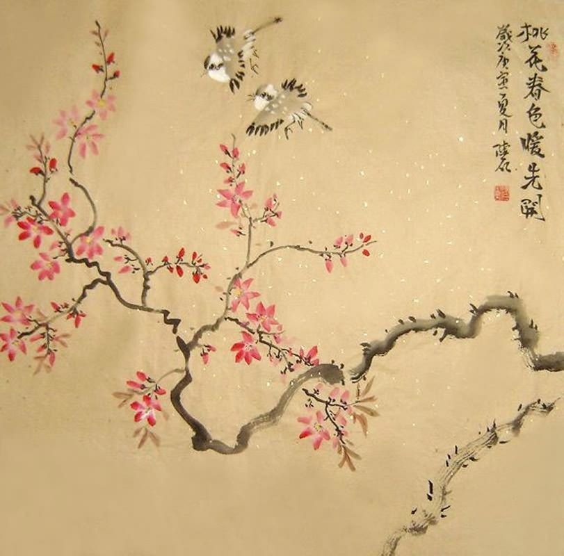 Page 2 Chinese Peach Blossom Paintings, Chinese Peach Blossom Wall ...