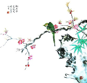 Chinese Peach Blossom Painting,66cm x 66cm,2407005-x