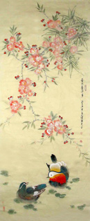 Chinese Peach Blossom Painting,55cm x 134cm,2426001-x