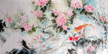 Chinese Peach Blossom Painting,66cm x 136cm,2695023-x
