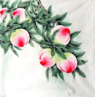Chinese Peach Painting,66cm x 66cm,2336130-x