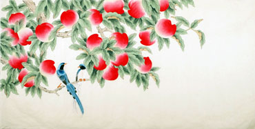 Chinese Peach Painting,66cm x 130cm,2340101-x