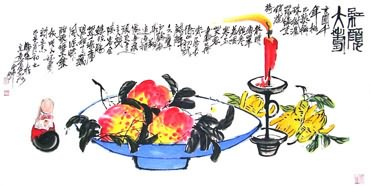 Chinese Peach Painting,66cm x 130cm,2371015-x