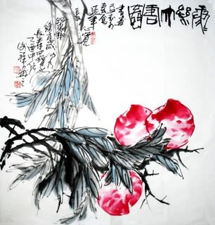 Chinese Peach Painting,69cm x 69cm,2399007-x