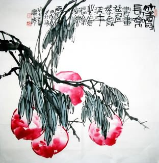 Chinese Peach Painting,69cm x 69cm,2399009-x