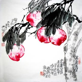 Chinese Peach Painting,69cm x 69cm,2399011-x
