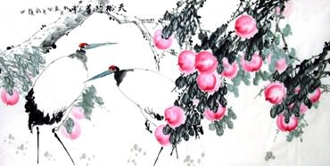 Chinese Peach Painting,69cm x 138cm,2422007-x