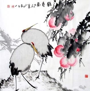 Chinese Peach Painting,69cm x 69cm,2422008-x