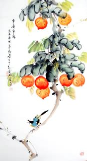 Chinese Peach Painting,50cm x 100cm,2437010-x