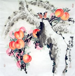 Chinese Peach Painting,66cm x 66cm,2559008-x