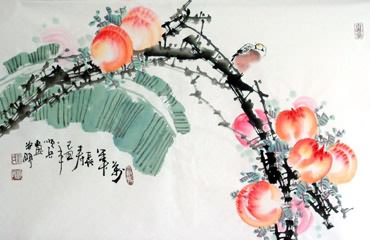 Chinese Peach Painting,30cm x 62cm,2559009-x