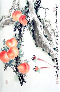 Chinese Peach Painting,30cm x 62cm,2559010-x