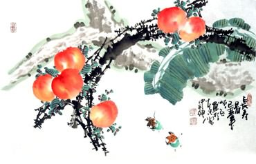 Chinese Peach Painting,30cm x 62cm,2559011-x