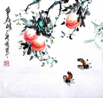 Chinese Peach Painting,50cm x 50cm,2565003-x