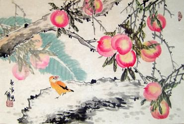 Chinese Peach Painting,69cm x 46cm,2565004-x