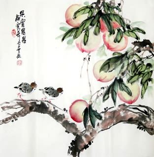 Chinese Peach Painting,50cm x 50cm,2565005-x