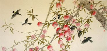 Chinese Peach Painting,66cm x 130cm,2609002-x