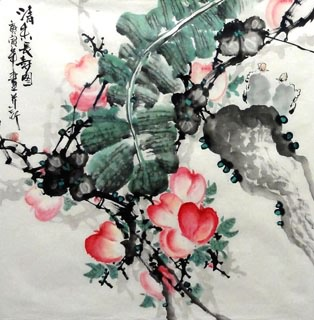Chinese Peach Painting,69cm x 69cm,2612004-x