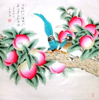 Chinese Peach Painting,69cm x 69cm,2617057-x