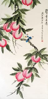 Chinese Peach Painting,60cm x 130cm,2702030-x