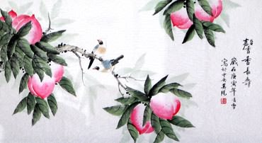 Chinese Peach Painting,48cm x 96cm,2702031-x