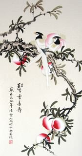 Chinese Peach Painting,43cm x 86cm,2702032-x