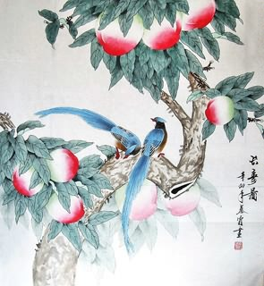 Chinese Peach Painting,66cm x 66cm,2703077-x