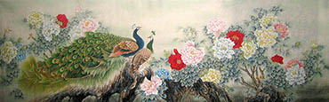 Chinese Peacock Peahen Painting,90cm x 240cm,2011043-x