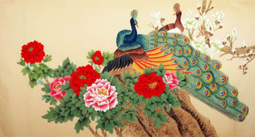 Chinese Peacock Peahen Painting,90cm x 170cm,2340020-x