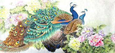 Chinese Peacock Peahen Painting,69cm x 138cm,2387078-x