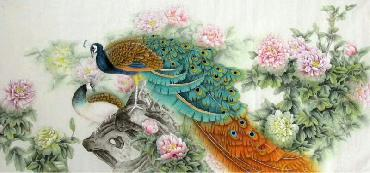 Chinese Peacock Peahen Painting,69cm x 138cm,2387079-x