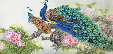 Chinese Peacock Peahen Painting,69cm x 138cm,2387081-x