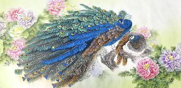 Chinese Peacock Peahen Painting,69cm x 138cm,2387082-x
