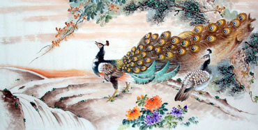 Chinese Peacock Peahen Painting,66cm x 136cm,2397018-x