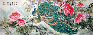 Chinese Peacock Peahen Painting,70cm x 180cm,2438001-x