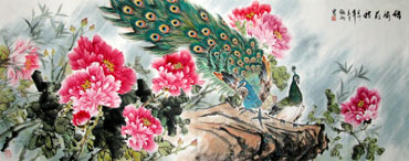 Chinese Peacock Peahen Painting,70cm x 180cm,2438002-x