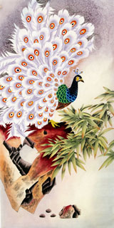 Chinese Peacock Peahen Painting,66cm x 136cm,2605003-x