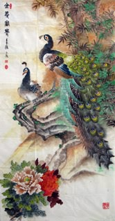 Chinese Peacock Peahen Painting,69cm x 138cm,2621004-x