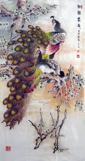 Chinese Peacock Peahen Painting,69cm x 138cm,2621009-x