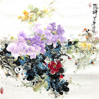 Chinese Peony Painting,66cm x 66cm,csy21097006-x
