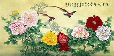 Chinese Peony Painting,69cm x 138cm,whl21108002-x