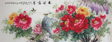 Chinese Peony Painting,70cm x 180cm,wjh21070001-x