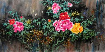 Chinese Peony Painting,66cm x 136cm,wjh21070009-x