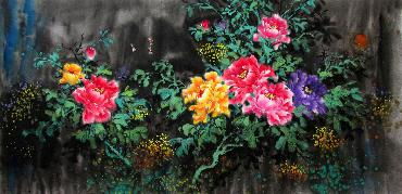 Chinese Peony Painting,66cm x 136cm,wjh21070010-x