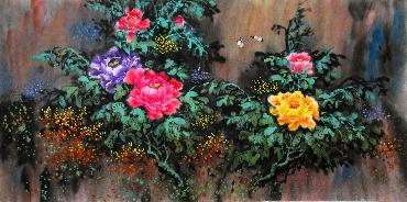 Chinese Peony Painting,66cm x 136cm,wjh21070011-x