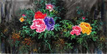 Chinese Peony Painting,66cm x 136cm,wjh21070014-x