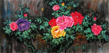 Chinese Peony Painting,66cm x 136cm,wjh21070015-x