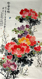 Chinese Peony Painting,97cm x 180cm,zzt21109003-x