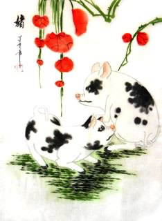 Chinese Pig Painting,30cm x 40cm,4336014-x