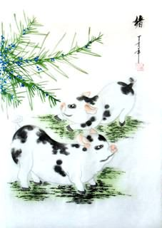Chinese Pig Painting,30cm x 40cm,4336016-x